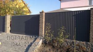 Откатные ворота из профлиста фото 1